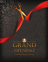Grand opening card with gold scissors