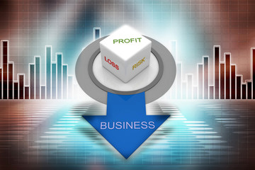 Profit, loss, risk in business concept