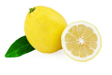 lemon fruit half leaf isolated