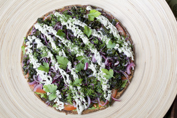 raw food pizza with vegetables