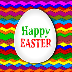 "Egg white with the words ""Happy Easter"" on a colored background"