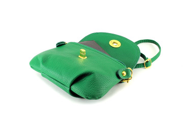 Womens green handbag. Isolated object on white background.