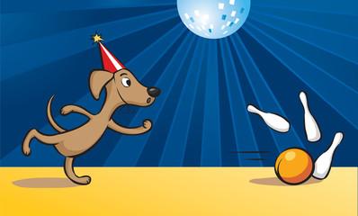 cartoon dog playing bowling