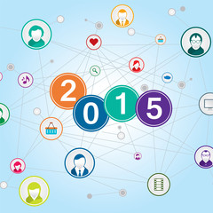 People network social. 2015 happy new year