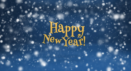 Happy New Year and snow on blue background