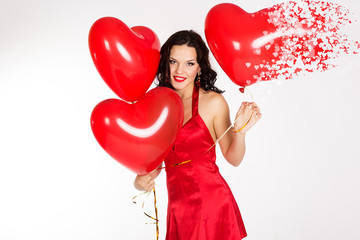 Sexy brunette with balloons heart