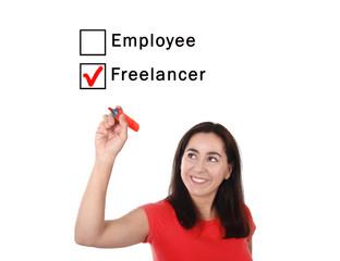 woman choosing freelancer to employee ticking box with marker