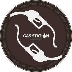 Gas station stamp or badge with two gasoline pump icons on dark