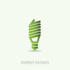 Energy saving light bulb icon green color design isolated