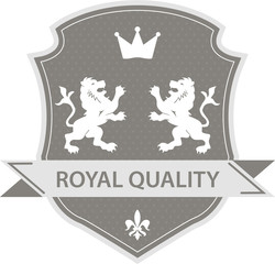 Royal label shield with two lions and crown in grey color
