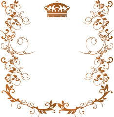 Royal floral frame with crown isolated on white background