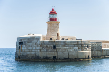 View of lighthouse in Grand Harbour, Valletta, Malta, Europe