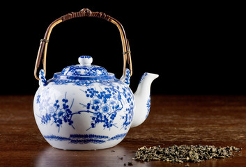 Old Chinese porcelain teapot,low key