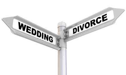 Wedding and divorce. Road sign