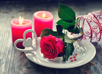 Saint Valentines's Day  with romantic table setting and rose