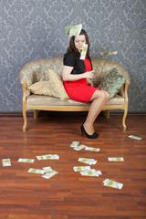 young woman sitting under euros rain