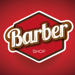 Vintage barber shop logo, label or badge