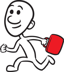 doodle small person - running with briefcase