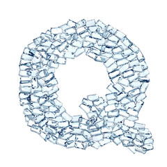 q lettera diamanti cristalli gemme 3d, sfondo bianco