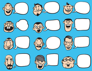 Doodle Faces with Speech Bubbles