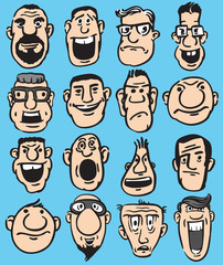 Big Set of Funny Doodle Faces