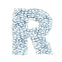 R lettera diamanti cristalli gemme 3d, sfondo bianco