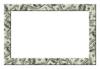 Dollars frame. Isolated