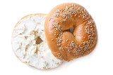 bagel with cream cheese isolated on white background