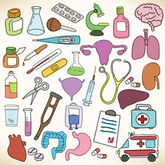 Medicine and health care illustrations set