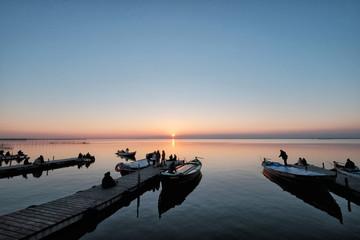 Albufera lake docks at sunset, Valencia, Spain