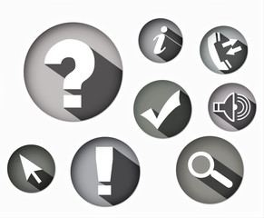eight different monochrome icons round shape