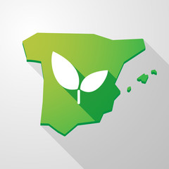 Spain map icon with a plant