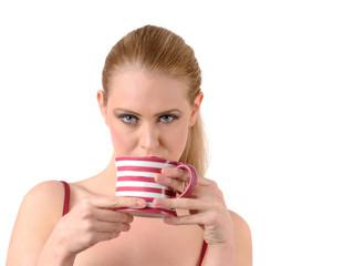 woman drink tea or coffee