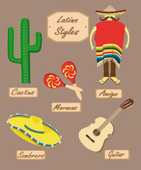 Latin American style with slogans of all objects
