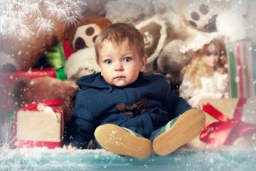 Christmas portrait of a little boy