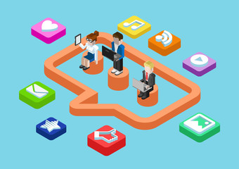 Business chat message, social media user status sharing flat 3d