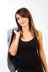 Young business woman with grey jacket