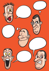 different emotion faces with speech balloons vector set