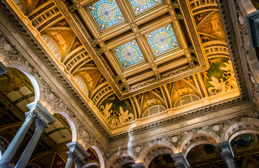 The interior of the Library of Congress, in Washington, DC.