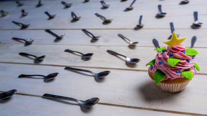 Muffin attacked by spoons