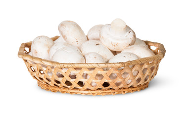 Mushrooms Champignon In A Wicker Basket