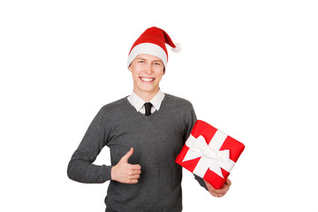 Businessman excited happy smile hold gift box in hand.