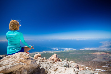 Woman doing yoga meditate outside