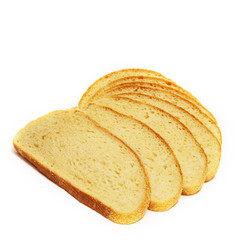 A few slices of white bread on white background