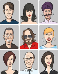 various men and women faces collection