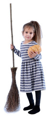 Little girl Witch with broom and pumpkin isolated on white