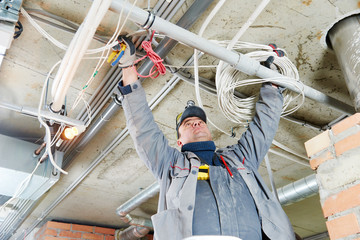 electrician working with cabling