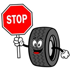 Tire with Stop Sign
