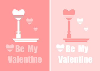 Flat Valentines Card of banners with hearts and  lantern