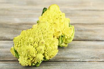 Romanesco broccoli on wooden table